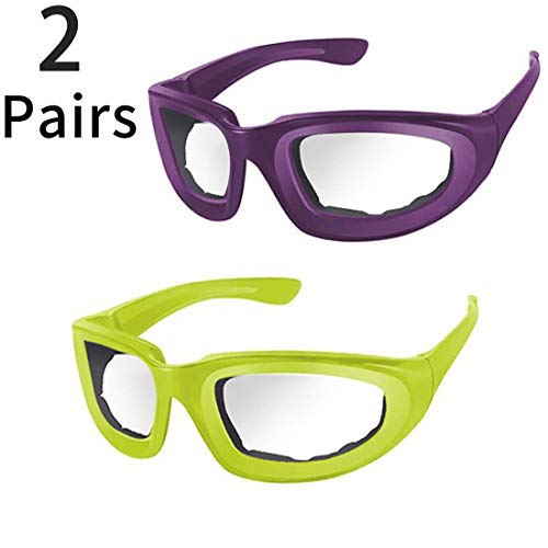 2 PCS Onion Glasses, Anti-Fog, Kitchen Onion Glasses, Eye Protector with Inside Sponge for Chopper Onion Tearless BBQ Grilling Dust-proof for Women Men Cleaning Kitchen