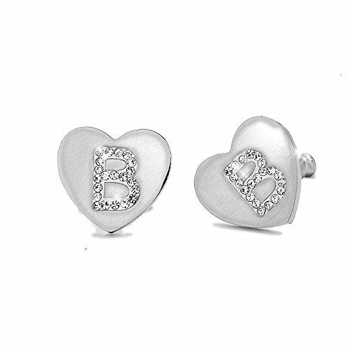 Beloved � Pendientes de mujer con cristales de acero, con letra inicial en forma de...