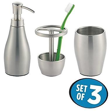 mDesign Stainless Steel Soap Dispenser Pump, Toothbrush Holder Stand, Tumbler for Bathroom Vanities - Set of 3, Brushed