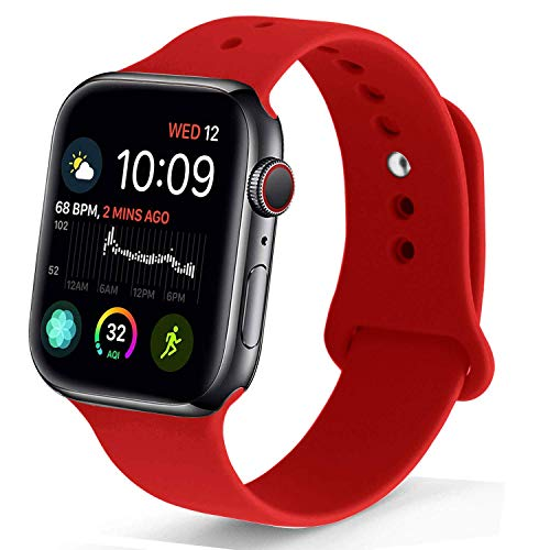 NUKELOLO - Correa Deportiva Compatible con Apple Watch de 38 mm, 40 mm, 42 mm, 44 mm, Silicona Suave Compatible con Apple Watch Series 4/3/2/1, 38mm (40mm) s/m, Sport - Red