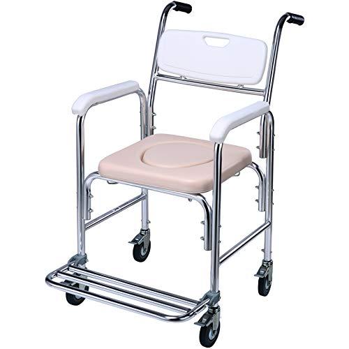 Sillas con Inodoro Altura Regulable Aleación de Aluminio Silla de Ruedas Antideslizante Silla de Ducha Reposabrazos para Personas Mayores para Ancianos 125 kg máx. 🔥