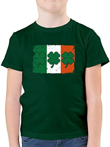 Städte & Länder Kind - Irische Flagge mit Kleeblättern - 164 (14/15 Jahre) - Tannengrün - St. Patrick's Day - F130K - Kinder Tshirts und T-Shirt für Jungen