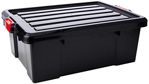 Iris Ohyama 135739 Set de 3 boîtes de Rangement Power Box, Plastique, Noir, 43 Litres