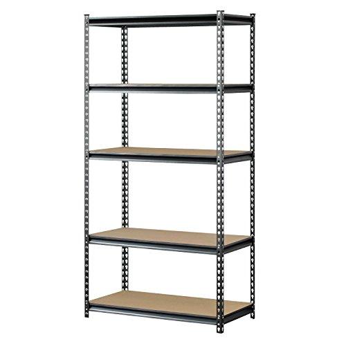 "Muscle Rack UR361872PB5PAZ-SV Silver Vein Steel Storage Rack, 5 Adjustable Shelves, 4000 lb. Capacity, 72"" Height x 36"" Width x 18"" Depth"