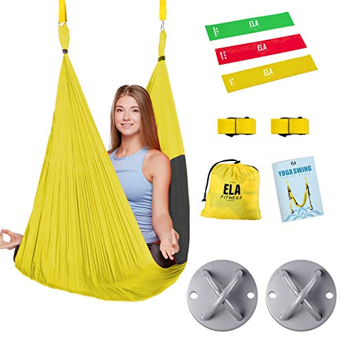 ELA Design Yoga Swing - Yoga Trapeze Home Workout Kit - Yoga Hammock with 3 Resistance Bands - Chirstmas Gift Idea (with Ceiling Mounts)