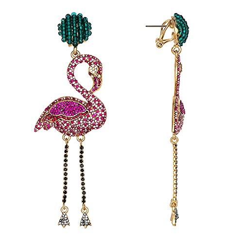 DFDLNL Orejeras para Mujer Flamingo Animal Stud Colorido Bohemia Glass Paved Gift para niñas Niños