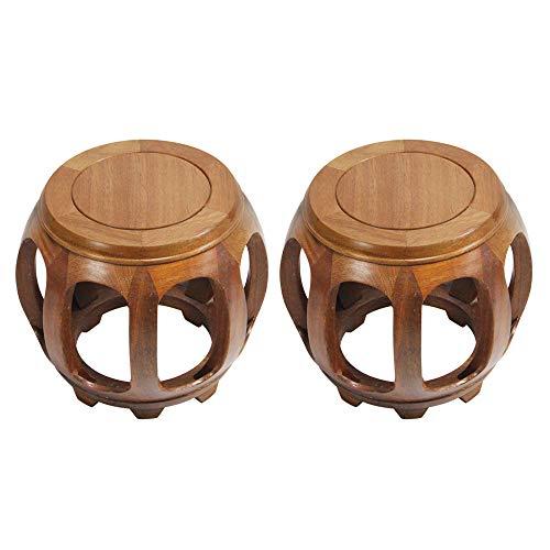 Taburetes de bar 2PCS, taburetes de tambor de madera de la casa blanca, taburetes redondos para restaurantes con familias, sofás chinos tradicionales, mesas de café, taburetes bajos, taburetes
