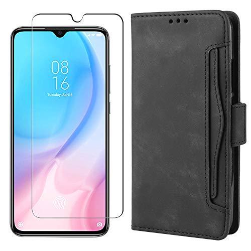 MARR Xiaomi Mi 9 Lite Lederhülle & Panzerglas Handyhülle PU Leder Tasche Schutzhülle für Xiaomi Mi 9 Lite (Schwarz)