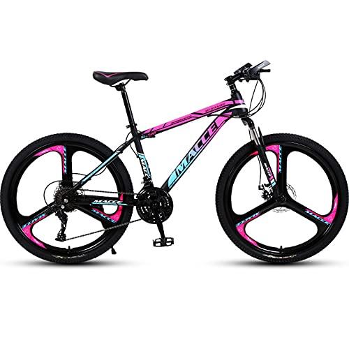 PBTRM Bicicleta Montaña 26 Pulgadas MTB 27 Velocidades, Horquilla Suspensión Bloqueable, Marco Acero Alto Carbono Engrosado, Freno Disco Doble, Pintura Dos Tonos,Blue Violet,A