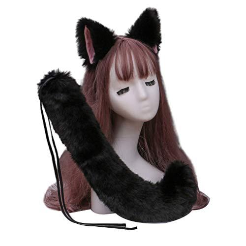 GREEN&RARE Juego de disfraz de anime japons, de color slido, diadema de orejas de lobo con felpa de animal de cola larga para Halloween, para fiestas, para manualidades, joyera de pelo
