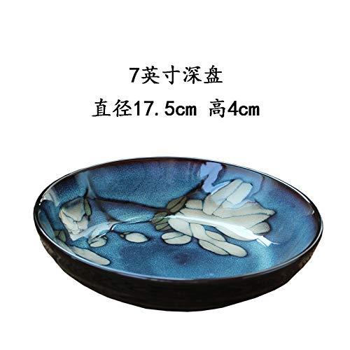 YUWANW Assiette en céramique créative bol de riz assiette carrée assiette profonde assiette plate grand bol à soupe, assiette plate 11 pouces