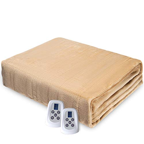 Electric Heated Blanket, Queen Size Blanket with Dual Controllers, 10 Heat Settings, Double-Layer Flannel, 12 Hours Auto Off, Machine Washable, Beige