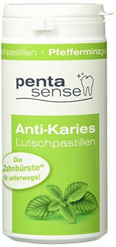 penta-sense Anti Karies Lutschpastillen mit Xylit – Pastillen für die optimale Zahnpflege mit Pfefferminz Geschmack – 1 x Dose je 135 Pastillen
