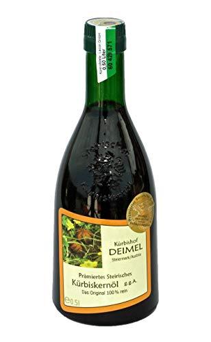 Kürbishof DEIMEL - Original Steirisches Kürbiskernöl g.g.A. - 500ml Flasche - Vom Kürbishof Kürbishof DEIMEL - Mit Herkunftsgarantie - Direkt vom Erzeuger - Jährlich prämiert