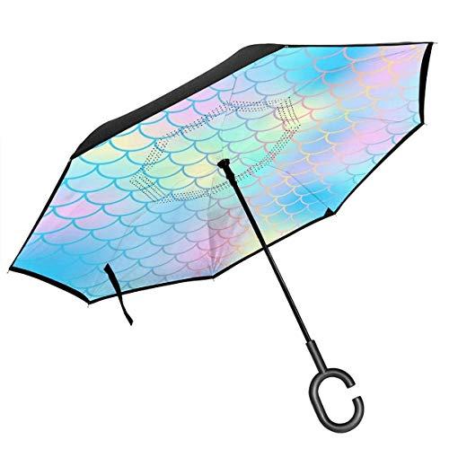 Paraguas invertido de 2 Capas, Plegable, Resistente al Viento, con Mango en...
