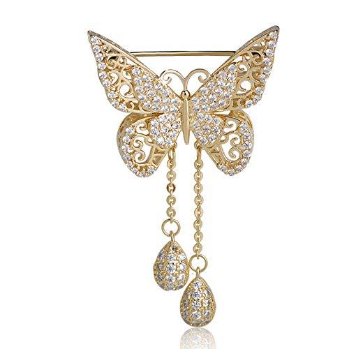KXBY Vlinder Broche voor Vrouwen Goud Kleur Wat Drop Klassieke Bruiloft Decoratie Dier Corsage PinsBroche Accessoires