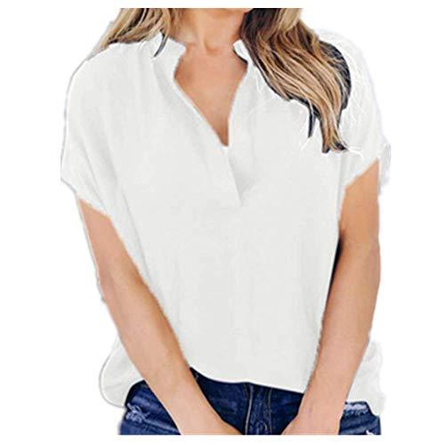 N\P Verano Sólido De Gasa Ropa De Las Mujeres Blusa De Señoras Sexy V-cuello Manga Corta Casual Camisa Tops Blusa - blanco - XX-Large