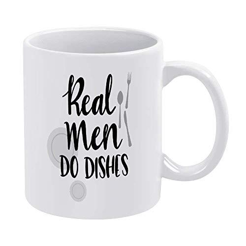 N\A Los Hombres Reales Hacen Platos Taza de café Divertida Marido Blanco Novedad Taza de té de cerámica Taza de Oficina Cumpleaños de Navidad Regalo de inauguración de la casa para Hombres Mujeres