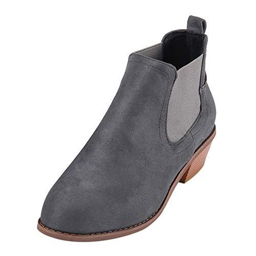 MYMYG Damen Pumps Ankle Boots Chelsea Boots Weinlese-Frauen-quadratischer Absatz Wildleder Slip-On Booties Stiefel Runde Zehenschuhe Winterstiefel Freizeit Kurz Boots