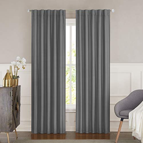"""WEST LAKE Gray 100% Blackout Faux Silk Window Curtain Backtab Rod Pocket for Bedroom Living Room Window Treatment Thermal Insulated Drapes Backtab 84 inches, 42""""x84"""", 1 Panel, Grey"""