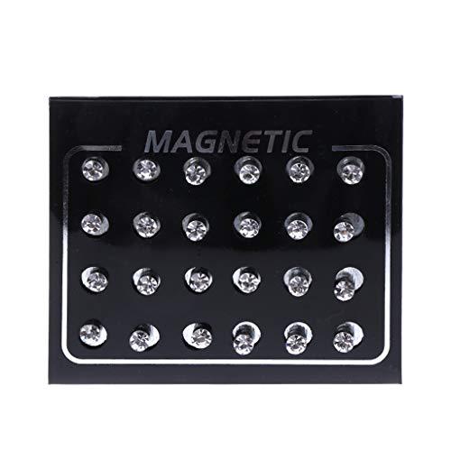6Wcveuebuc 12 pares de pendientes de clip magnético con diamantes de imitación de cristal, joyería de moda