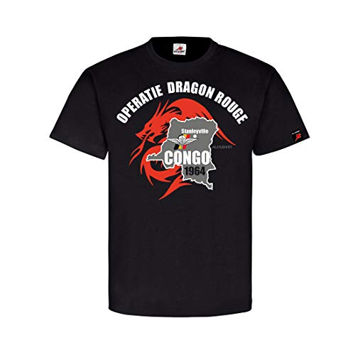 Operatie Dragon Rouge Stanleyville para Commando Brigade Cong T-Shirt #31561, Farbe:Schwarz, Größe:Herren S