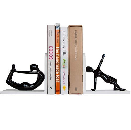 Percilun 2 Yoga Figur Buchstütze, 2 Buchstützen Bücher Halter, Bücherhalter Für Regal, Dvd Stütze, Bücher Halterung, Bücher Stütze, Buch Trenner, Weiblichen Figuren. Buchstütze Schwarz und weiß
