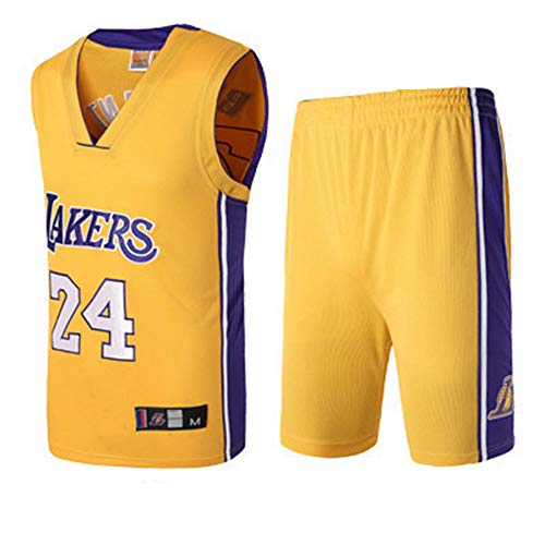LHDDD NBA Abbigliamento Basket Kids Boy Men Lakers Kobe Bryant 24 Jersey ricamato si adatta alle maglie estive Sportivo Gilet Pantaloncini
