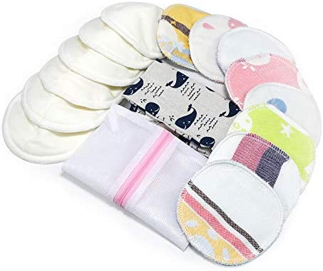 Nursing Breast Pads Set 8 Cotton Pads 6 Bamboo Pads Soft Washable for Breastfeeding Moms Keep product image