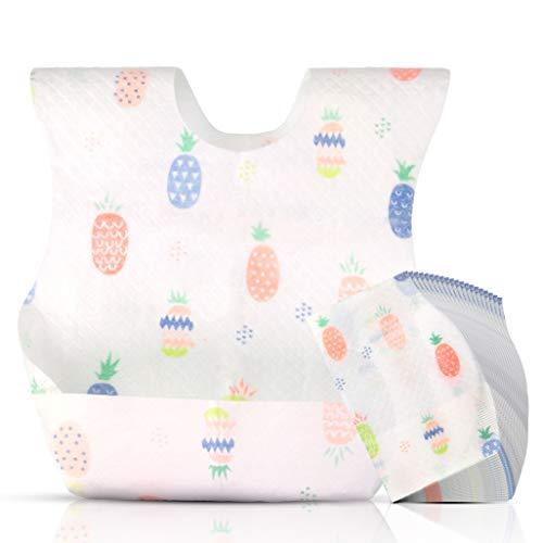 SESENZA Baberos desechables bebe con 4 diseños 50 unidades | Baberos desechables para bebés recién nacidos | Baberos ajustables con bolsillo para recoger la comida