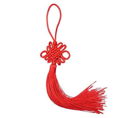 10 Unids 8.5 Pulgadas hechos a Mano de Seda Sedosa Borla China con Seda de Satén Hizo Nudos Chinos Para la Puerta y la Decoración de Entrega del Coche, Arte de Bricolaje (Rojo)
