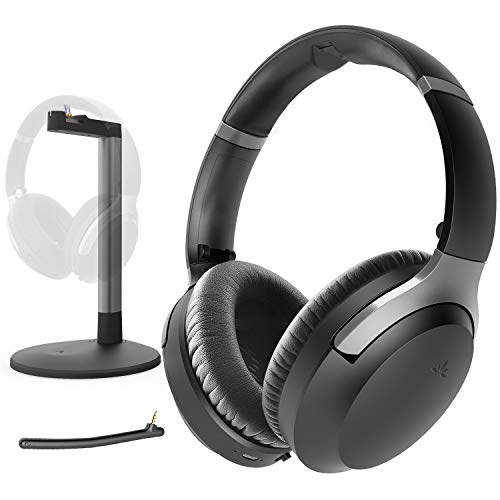Avantree Aria Me Wireless Bluetooth Headphones Headset for Seniors, Hearing Impaired, Enhanced Clarity, Charging Stand, aptX HD, Low Latency, Boom Mic, Active Noise Cancelling Over Ear for TV Phone PC