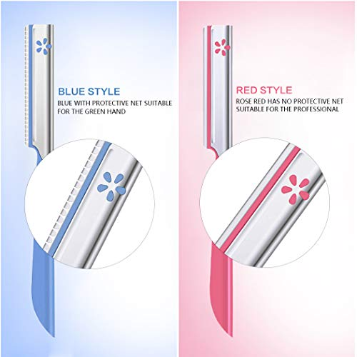 Eyebrow Trimmer Completely Stainless Steel Eyebrow Razor with Cover for Men&Women (5PCS)