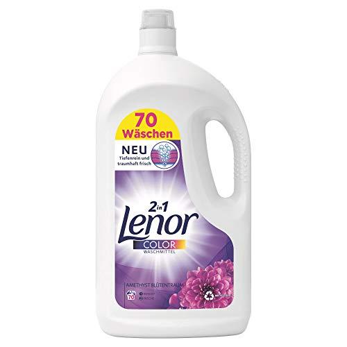 Lenor Waschmittel Flüssig, Flüssigwaschmittel, Color Waschmittel, Farbschutz, Amethyst Blütentraum, 70 Waschladungen (3.85 L)