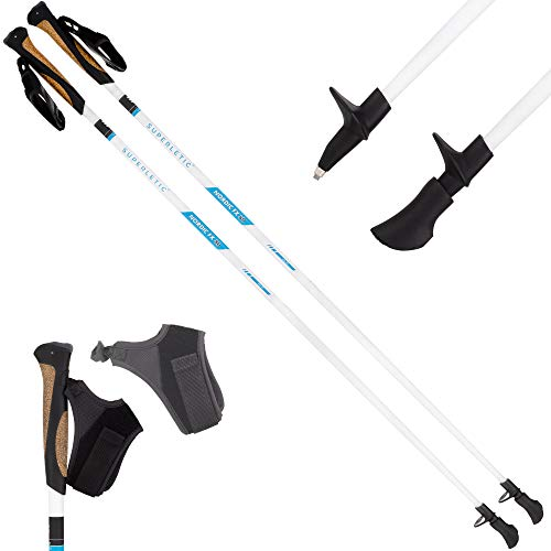 SUPERLETIC Nordic FX 10 Essential Nordic Walking Stöcke 10{78c8bcc5834244baa26db8c2a221c34e82b73dc0ecf437986483f7465a01a322} Carbon, 100 bis 125 cm Länge, für Damen und Herren, ergonomische Korkgriffe, klick-System