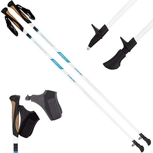 SUPERLETIC Nordic FX 10 Essential Nordic Walking Stöcke 10{ddd4a13901134e708c3aa5e6c00276d8ab367c8102a0db09fc2aa390f289935e} Carbon, 100 bis 125 cm Länge, für Damen und Herren, ergonomische Korkgriffe, klick-System