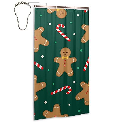 Duschvorhang,Weihnachtslebkuchenmann-Süßigkeiten- & Getränkeset mit 12 Eisenhaken,Widerstandsfeste waschbare Einlage wasserdicht für Badewanne Badegitter,(36x72 Zoll)