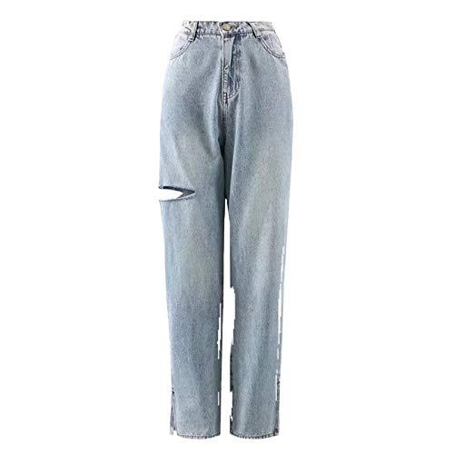 BSbattle 90s Style Denim Pantalon Split Déchiré Taille Haute Grunge Jeans Adolescents Mode Coréenne Pantalon Long Cool Automne Hiver 2020 - bleu - Medium