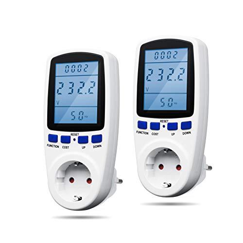 X4-LIFE 2er SET Energiekosten Messgerät - Stromzähler für Steckdose Strommesser Energiemessgerät Energiekostenmessgerät Stromrechner - Stromkosten und Stromverbrauch messen - LCD-Display