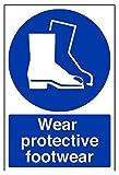vsafety 41084au-s'llevar calzado de protección obligatorio EPI señal, autoadhesivos, vertical, 200mm x 300mm), color azul