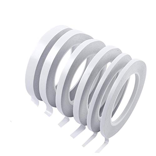 Purchase Pan Hui 6 Rolls Double Sided Tape Sticky Removable for Office Boxes Masking Cloth Gifts Cards Wrapping Card Making (White)