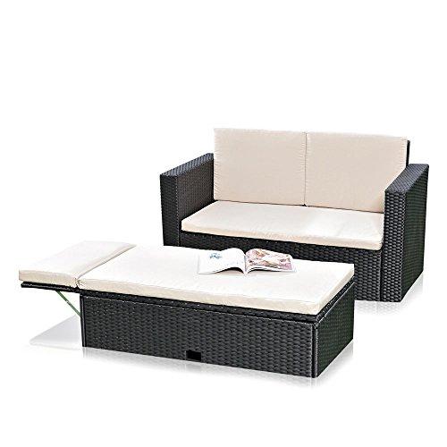 Melko Lounge Sofa-Garnitur Gartenset, Poly Rattan, mit klappbarer Fußbank, inklusive Kissen, mehrteilig, Schwarz