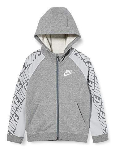 Nike Sportswear, Felpa con Cappuccio E Zip A Tutta Lunghezza Unisex Bambini, Carbon Heather/Lt Smoke Grey/White, S