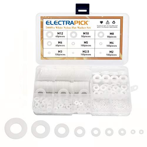 electrapick Unterlegscheiben 700stk Kunststoff Flache Sicherungsscheiben Sortiment Set, M2-M12, Nylondichtung, Weiß