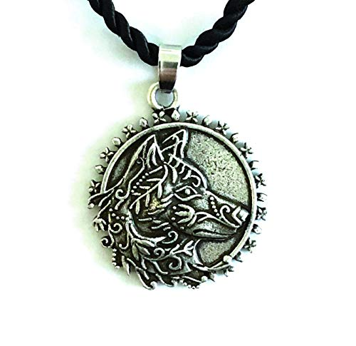 Collar de lobo estilo camafeo Victoriano Vintage – Joya Viking – Animal Totem del coraje de la fuerza de la familia amor – símbolo tribal runa celta caza – Regalo original para hombre y mujer unisex