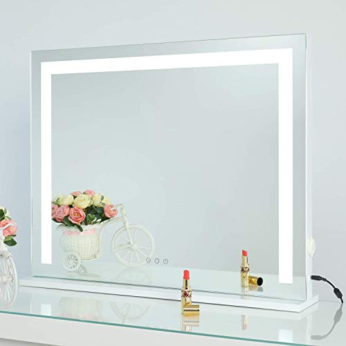 """SHOWTIMEZ Vanity Mirror with Lights, Tabletop Wall-Mounted Makeup Mirror with Dimmable 3 Modes LED Backlit Light Strip,Touch Screen Control Cosmetic Mirror with USB Outlet, 27.5"""" W x 21.5"""" H"""