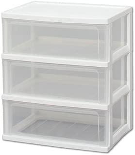 アイリスオーヤマ チェスト ワイド 3段 幅54×奥行40×高さ62.5cm ホワイト / クリア  白 プラスチック W-543