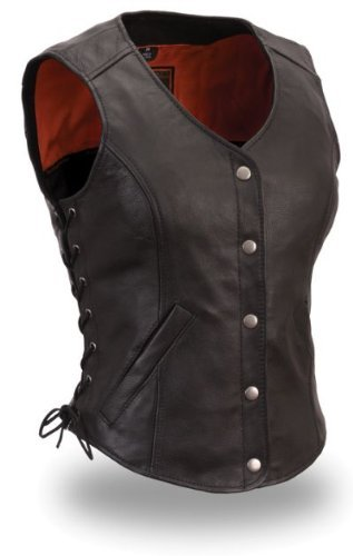 Womens Motorcycle Biker Classic Soft Leather Vest with Side Laces Longer Length (Medium)