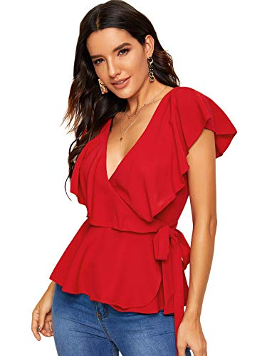SOLY HUX Women's Ruffle Hem Bow Tie Wrap Knotted Blouse Plunging Neck Peplum Sexy Top Red L
