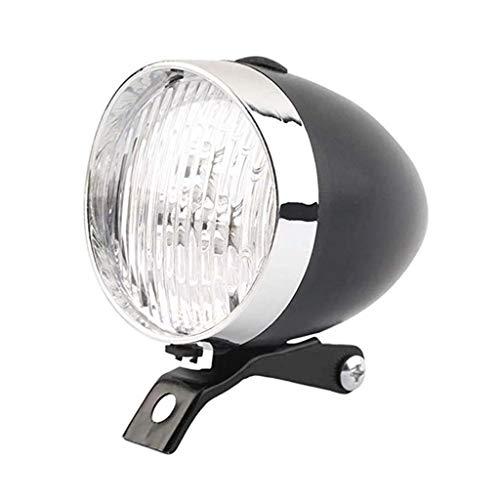 M-JJZX Luces de Bicicleta LED Vintage Retro Classic Bike Frontal Light Light Lámpara Bicicleta Ligh Cycling Accesorios (Color : Black)